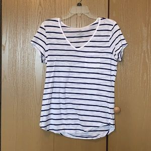 White and Navy Striped Pocket T-Shirt